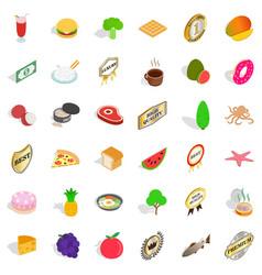 Nourishment icons set isometric style vector