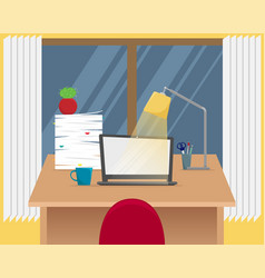 office workplace table with laptop vector image