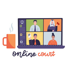online court session with judge secretary vector image