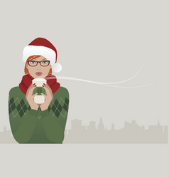Pretty redhaired girl wearing glasses and a santa vector