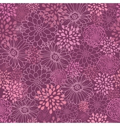 Purple field flowers seamless pattern background vector image