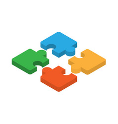 puzzle isometric icon puzzle as symbol of vector image