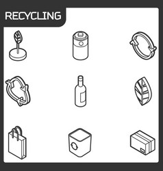 recycling outline isometric icons vector image