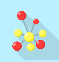 Red yellow molecule icon flat style vector