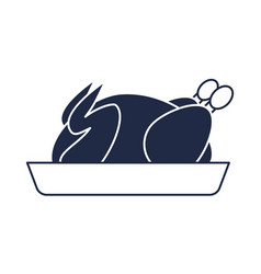 Roasted chicken on plate icon vector
