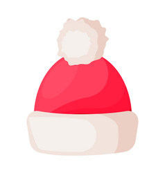 Santa claus winter woolen hat isolated on white vector