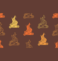 Seamless pattern with burning bonfire vector