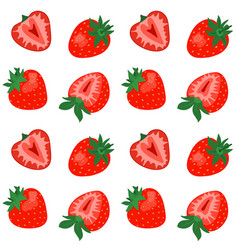 seamless pattern with cute strawberries on white vector image