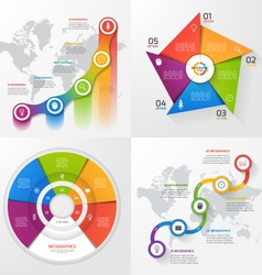 set 4 infographic templates with 5 options vector image