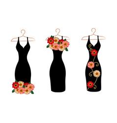 set dresses on hangers vector image