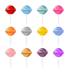 Set lollipop candies with different flavors vector image