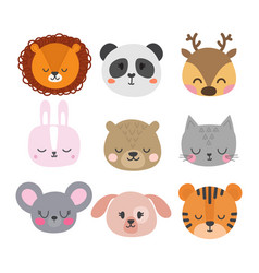 set of cute hand drawn smiling animals cat vector image