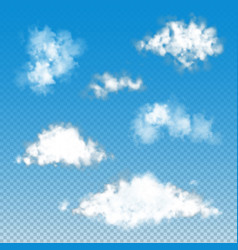 set of transparent fluffy clouds vector image