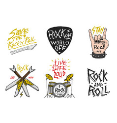 set rock and roll music symbols with drums vector image