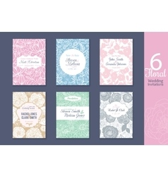 six floral wedding save date invitations set vector image