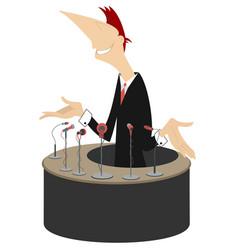 speaker tribune and microphones vector image