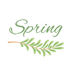 spring and branch with tiny oblong leaves poster vector image