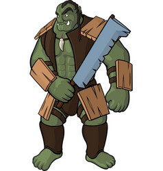 Strong orc with sword vector