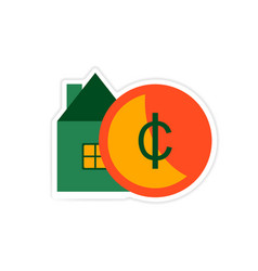Stylish sticker on paper house and money vector