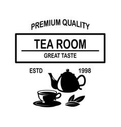 tea shop emblem template design element for logo vector image