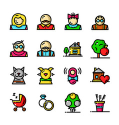 Thin line family icons set vector
