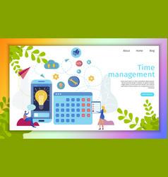 time management online service flat website vector image