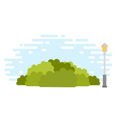 Urban bushes with lamppost icon flat isolated vector