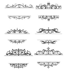 vintage swirl frame set vector image vector image