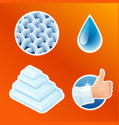 washing clothes stickers set clean laundry vector image