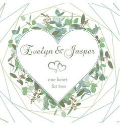 Wedding invitation flyer square valentine heart vector