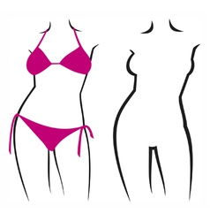Woman in bikini and silhouette vector