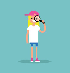 young blond girl looking through the magnifying vector image