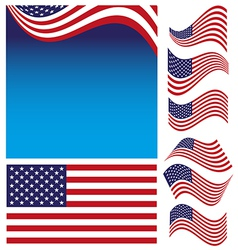 American Flag Set vector image vector image