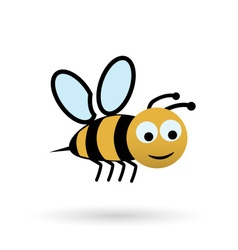 colorful happy bee character simple icon eps10 vector image vector image