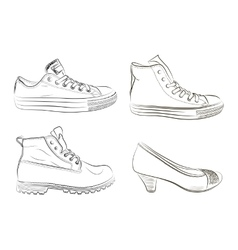 Set of hand drawn men and women shoes vector image vector image