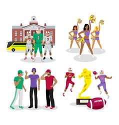 american high school football cartoon vector image vector image