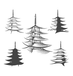 asian pagoda or buddhist house set vector image
