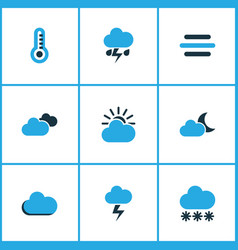 Climate colored icons set collection of snowfall vector