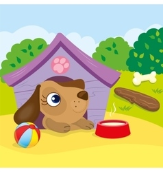 Cute Dog In The Booth vector image vector image