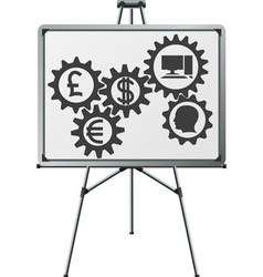 gear of business in easel vector image vector image