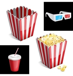 popcorn box cola and 3D glasses icon vector image