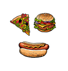 sandwich burger hot dog pizza slice set vector image