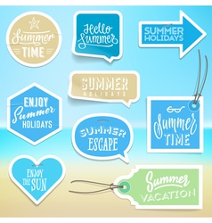 Summer holiday vacation stickers and labels vector image vector image