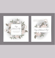 valentines day cards with pink flowers vector image vector image