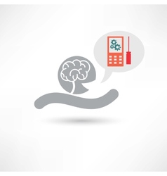 brain and cellphone icon vector image