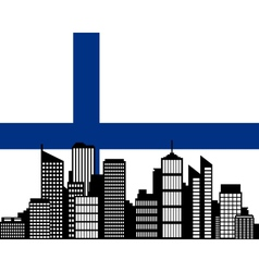 City and flag of Finland vector image vector image