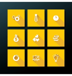 flat business icon set vector image vector image