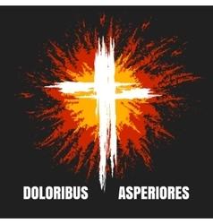 Grunge burning christian cross vector image