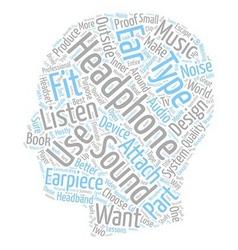Headphone Essentials text background wordcloud vector image