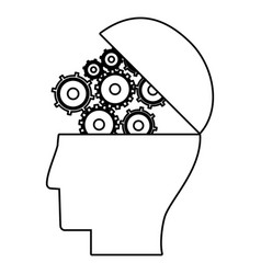 human head gear work business outline vector image vector image